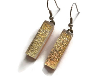 Earrings, white and gold, fused Glass earrings, dichroic glass jewelry, sparkle dangle earrings, statement earring