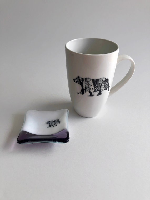 Coffee mug, unique gifts, tea bag dish, bear mug, glass art, gifts for her, coffee cup, home decor, bear decor, bear themed mug, unique art
