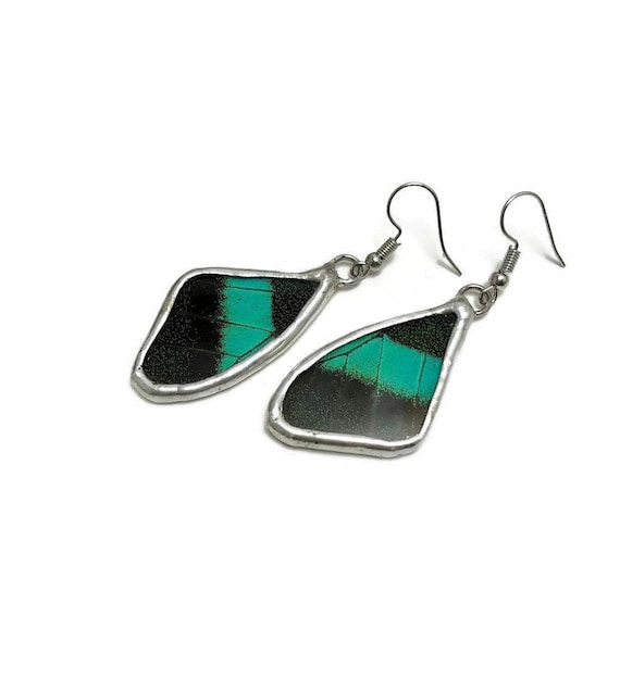 Handcrafted green and black butterfly Earrings, real butterfly wing, unique gifts for her