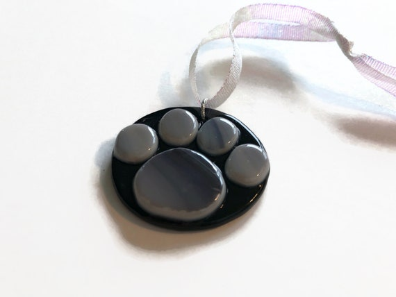 Fused Glass paw memorial suncatcher ornament, Unique gifts for her, animal lover gifts