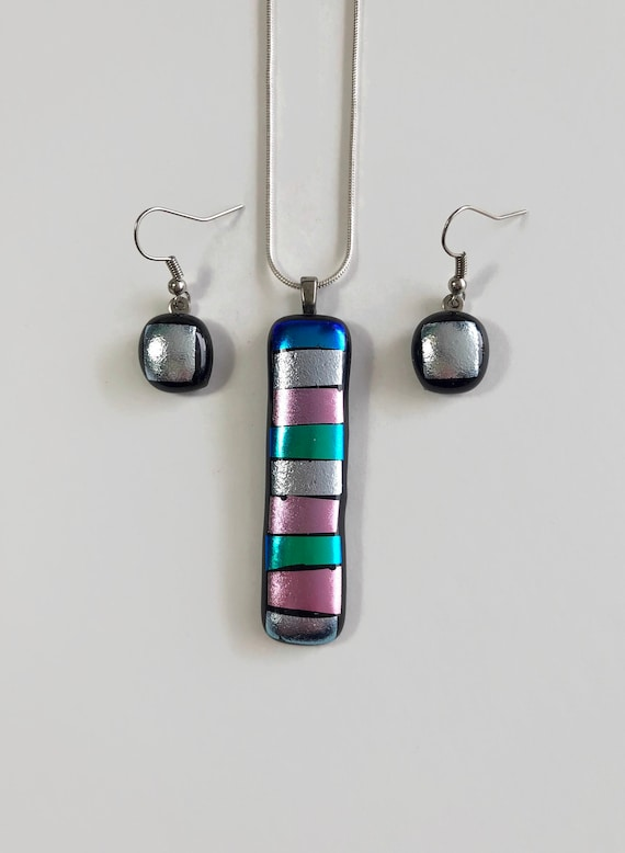 glass jewelry, unique jewelry, dichroic glass jewelry, Jewelry for her, statement jewelry, fused glass jewelry, Glass pendant and earring