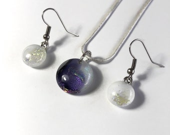 Fused Glass Jewelry, purple and white jewelry set, dichroic glass pendant, gifts for mom, glass earrings, bohemian jewelry
