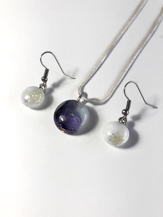 Glass Jewelry set, jewelry for mom, glass jewelry, unique jewelry, gifts for mom, unique gifts, dichroic glass jewelry, fused glass Jewelry