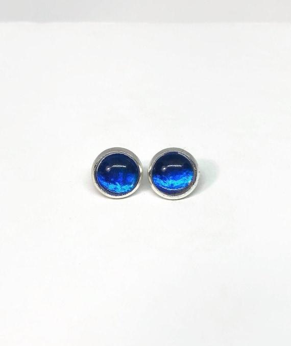 Blue morpho Butterfly earrings, minimalist earrings, unique gifts for her, butterfly lover, butterfly taxidermy jewelry