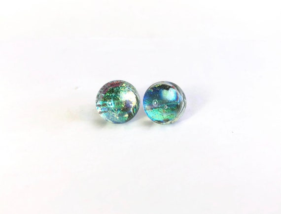 Dichroic Glass earrings, unique gifts for her, Green studs, fused glass studs, jewelry for her, dichroic glass jewelry, glass studs, gifts