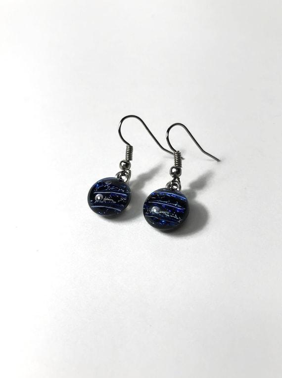 Glass jewelry, blue glass earrings, unique gifts for her, dichroic glass earrings, jewelry for her, fused glass earrings, best friend gifts
