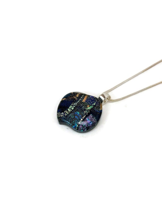 Dichroic glass pendant, Gifts for mom, Dichroic glass jewelry, Statement pendant, Fused Glass Jewelry, Fused glass Necklace, glass jewelry