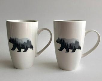 Mug, Bear Coffee mug, wilderness lover gifts, tea mug, bear home decor, mountain decor, ceramic mug, bear themed mug, bear lover gifts