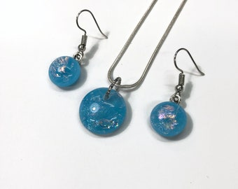 Fused Glass Jewelry set, jewelry for her, dichroic glass jewelry, unique jewelry, gifts for mom, unique gifts, blue glass Jewelry, gifts