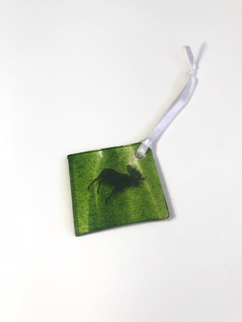 moose home decor unique gifts for him Handcrafted fused glass Moose ornament mountain lover gifts