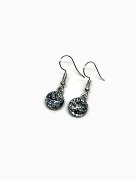 Silver and black glass earrings, birthday gifts for her, dichroic glass jewelry