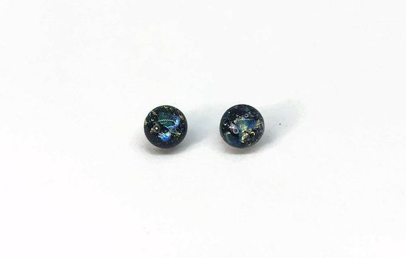 Dichroic glass studs, fused glass jewelry, minimalist earrings, Unique gifts for her