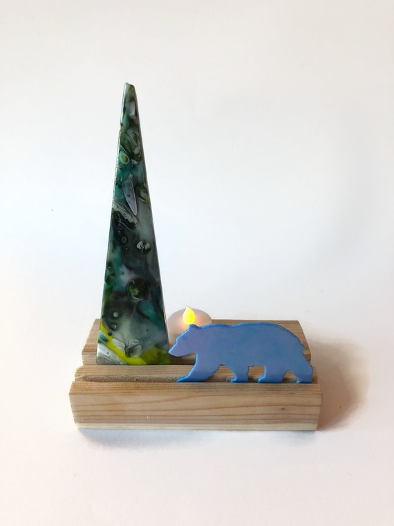 Fused Glass art, glass art, Tea light holder, Unique gifts for her, bear home decor, glass candle holder, glass sculpture, Bear decor, gifts