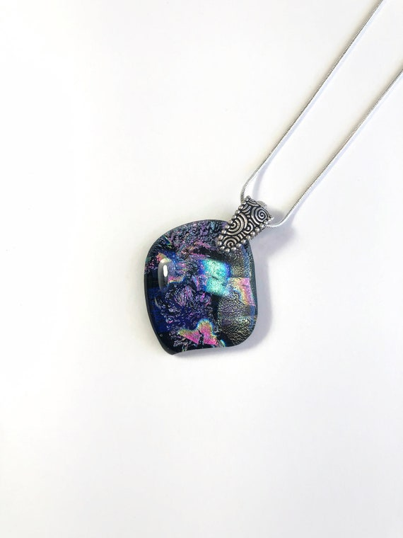 Fused glass necklace, Unique fits for mom, glass pendant, jewelry for her, Bridesmaid gifts, Dichroic Glass Pendant, Best friend gifts, gift