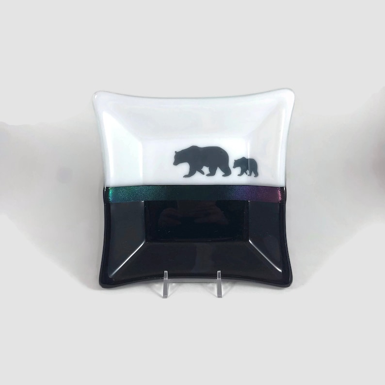 Fused glass plate dish spoonrest bear plate fused glass plate dish handmade glass dish jewelry dish home decor art candy dish