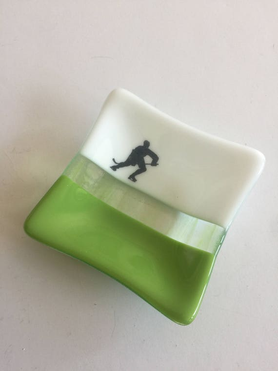 Fused glass plate, Unique gifts for him, fused glass dish, glass dish, ring dish, tea bag dish, candy dish, decorative dish, hockey decor