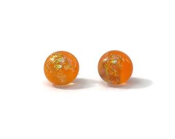 Glass studs, orange stud earrings, Fused glass jewelry, dichroic glass earrings, sparkle studs, minimalist earrings, hypoallergenic