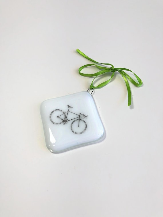 Fused glass ornament, unique gifts for her, Bike decor, Christmas decor, Christmas decoration, glass ornament, bike ornament, unique gifts