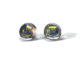 Rainbow glass stud earrings, Fused glass jewelry, hypoallergenic, button studs, minimalist sparkle studs, Dichroic Glass Earrings, handmade