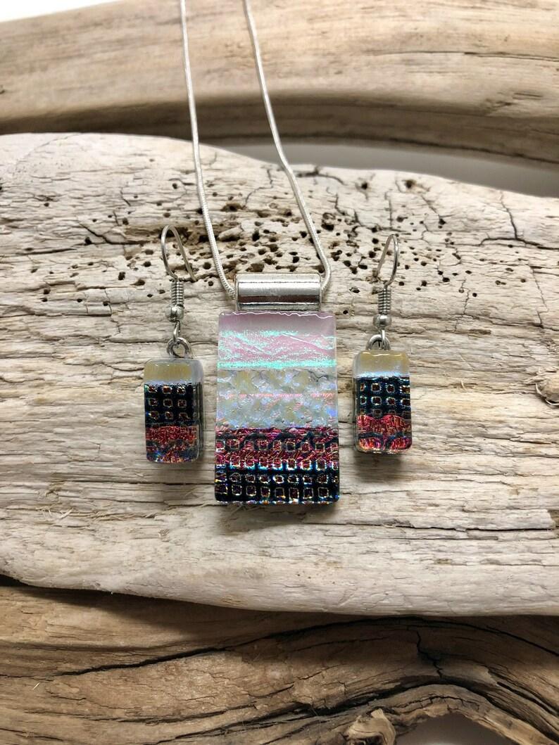 Dichroic glass set glass earrings dichroic glass jewelry glass pendant glass set fused glass set Glass Jewelry glass pendant