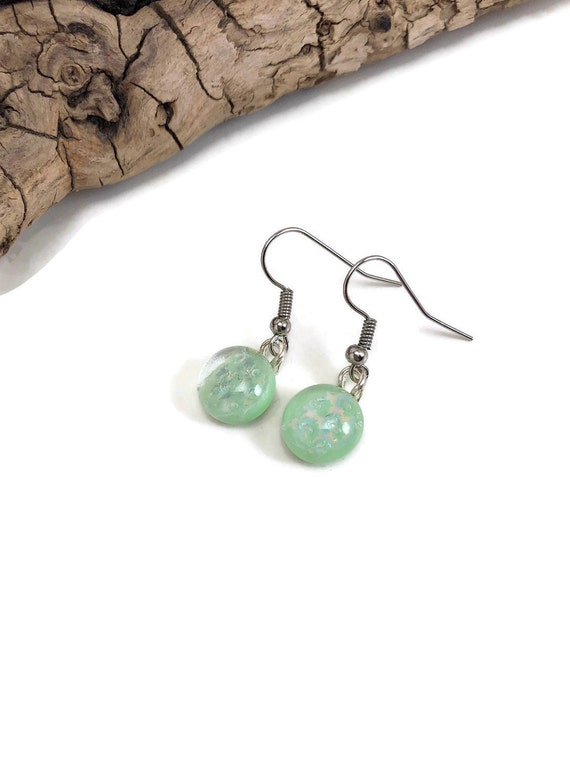 Glass jewelry, Minimalist jewelry, dichroic glass earrings, Unique Gifts for her, fused glass earrings, glass earrings, unique gifts, gifts