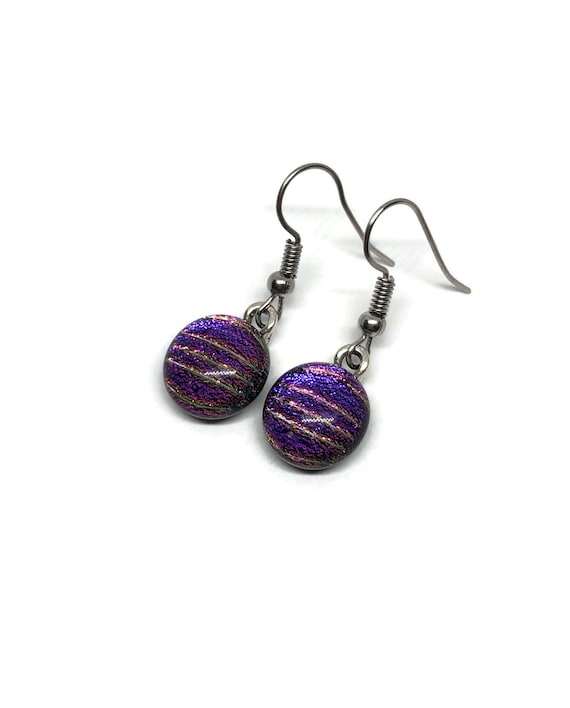 Fused glass earrings, Teacher gifts, birthday gifts for her, statement jewelry, glass earrings, unique earrings, dichroic glass earrings
