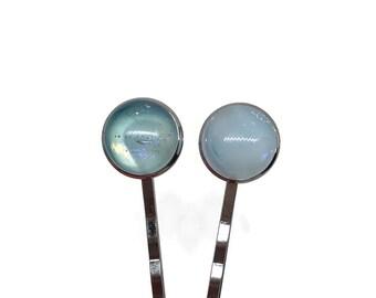 Glass bobby pins, Blue hair pins, Fused glass hair pins, bridesmaid hair jewelry, dichroic glass bobby pins, glass jewelry