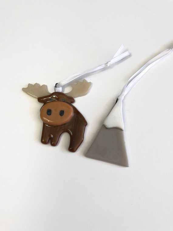 Moose ornament, fused glass ornament, mountain decor, Unique gifts for him, glass ornament, unique art, Christmas decor, tree ornament, gift