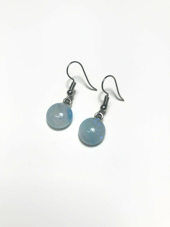 Dichroic glass blue dangle earrings, jewelry for her, statement jewelry, fused glass earrings