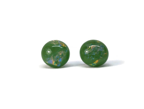 glass studs, unique jewelry, fused glass jewelry, gifts for her, fused glass earrings, dichroic Glass Earrings, Fused Glass Earrings