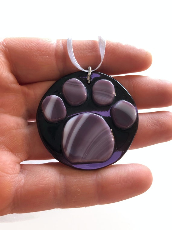 Fused Glass animal print suncatcher ornament, Unique gifts for her, paw print home decor, animal lover gifts, glass sculpture