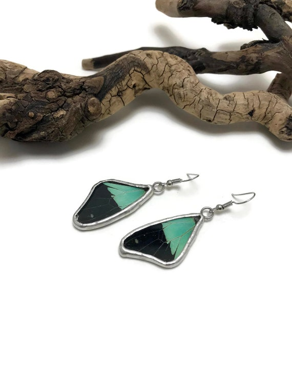 Real butterfly wing, Real butterfly Jewelry, Butterfly earrings, glass earrings, insect jewelry, insect earrings, glass jewelry, butterfly