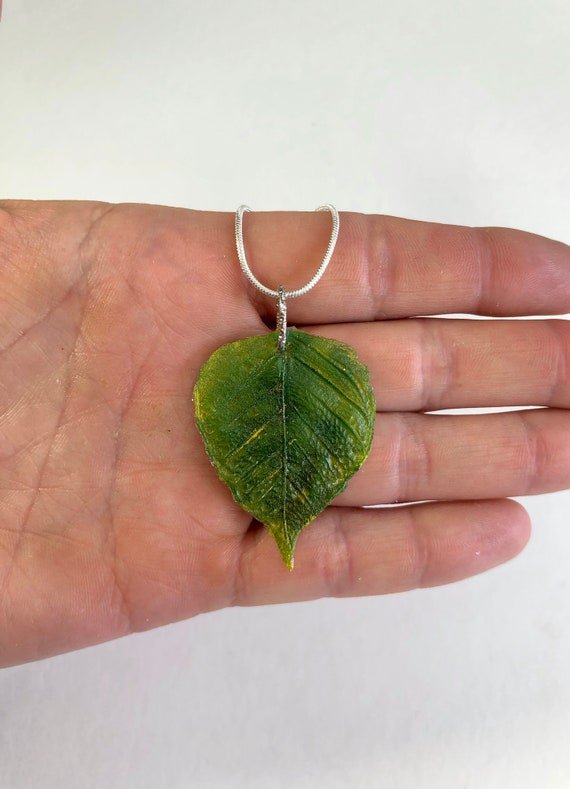 Plant jewelry, Fused glass pendant, leaf necklace, unique jewelry, unique gifts for her, jewelry for mom, glass Necklace, unique gifts, gift