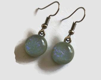 Earrings, glass jewelry, green sparkle earrings, Dichroic glass jewelry, fused glass earrings, statement earrings, sparkle dangle earrings