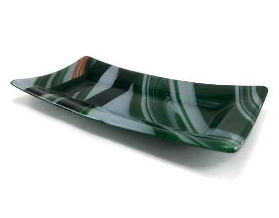 Green and white fused Glass plate, housewarming gifts, Unique gifts for mom, glass home decor