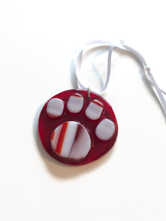 Handcrafted Glass paw memorial suncatcher, Unique gifts for her, animal lover gifts
