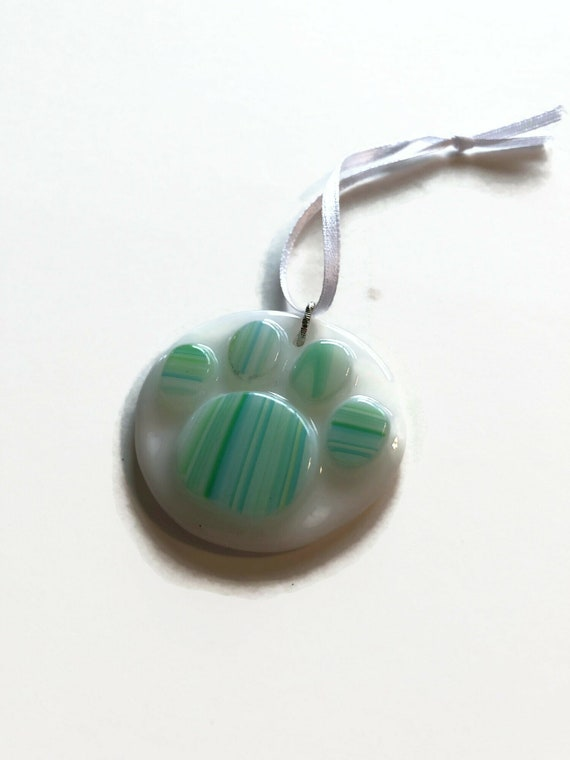 Fused Glass paw suncatcher ornament, Unique gifts for him, animal lover gifts, memorial home decor