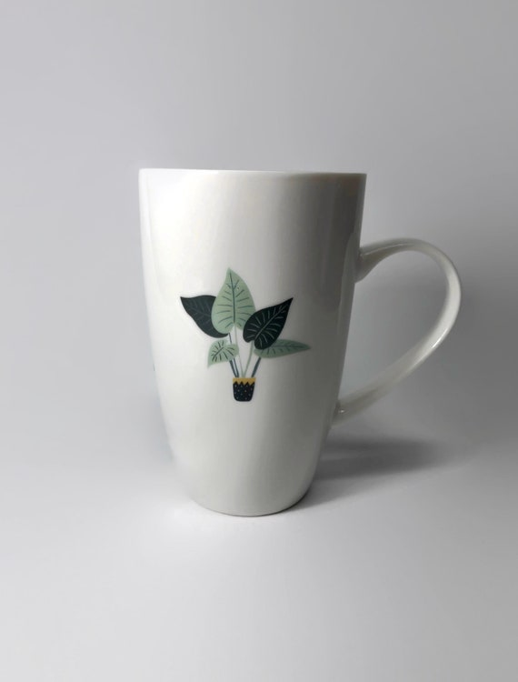 Plant mug, unique gifts, gifts for her, plant coffee cup, plant lover, unique art, plant decor, plant themed mug, coffee lover, plant art