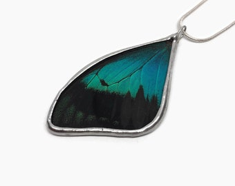butterfly pendant, green and black butterfly necklace, unique gifts for her, real butterfly wing, best friend gifts, butterfly taxidermy