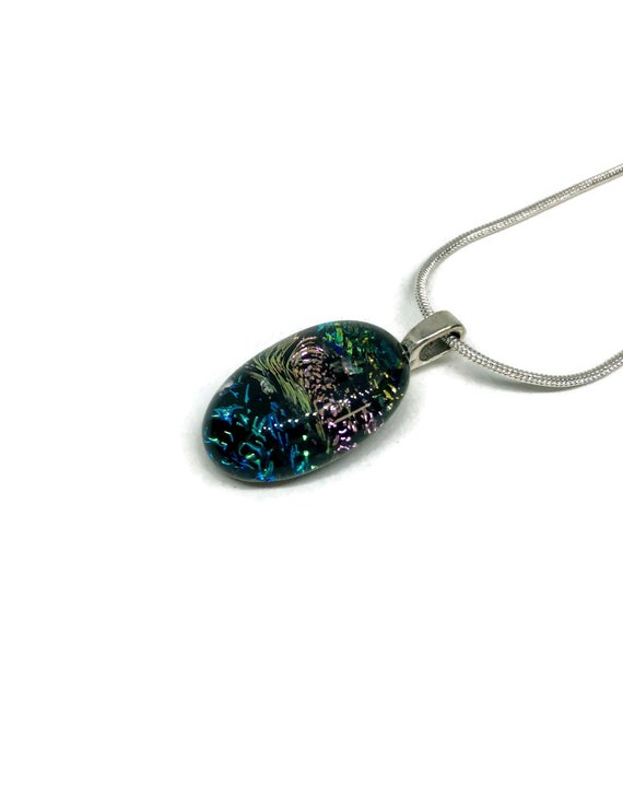 Multicoloured glass pendant, Unique gifts for her, dichroic glass necklace, fused glass jewelry