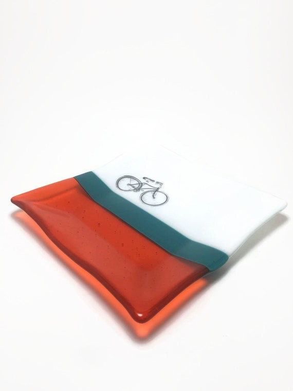 Fused glass bike plate, unique gifts for him, bike home decor, bike lover