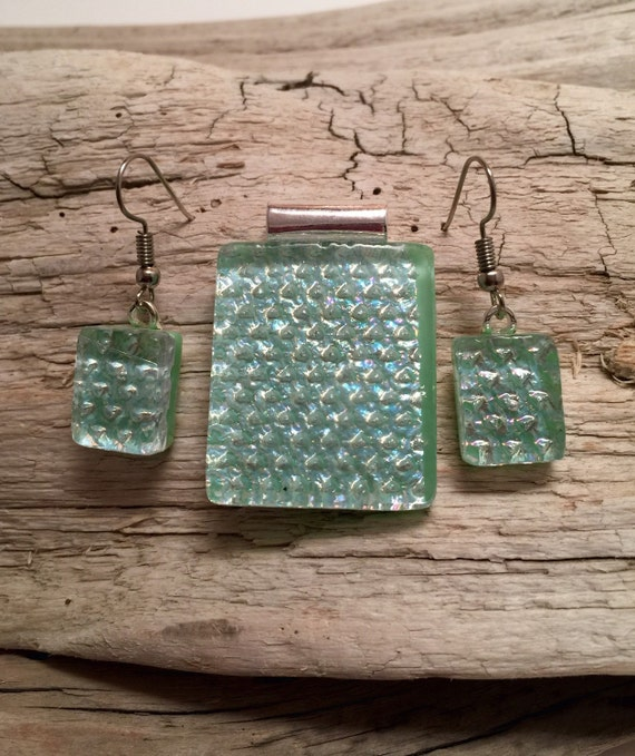 Glass jewelry, glass pendant and earring set, dichroic glass jewelry, dichroic glass, fused glass, handmade fused glass, glass jewelry