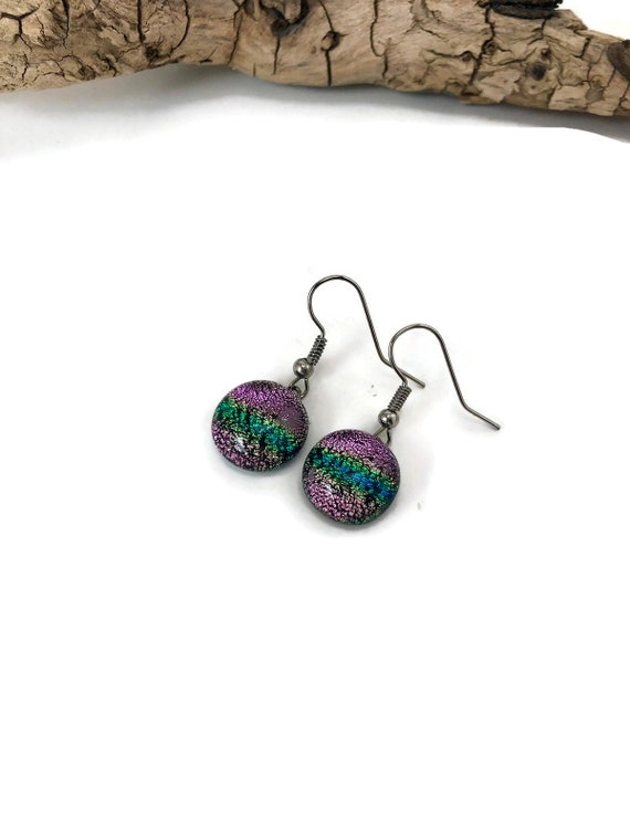Glass earrings, unique earrings, dichroic glass earrings, Gifts for mom, glass jewelry, fused glass earrings, statement earrings, gifts