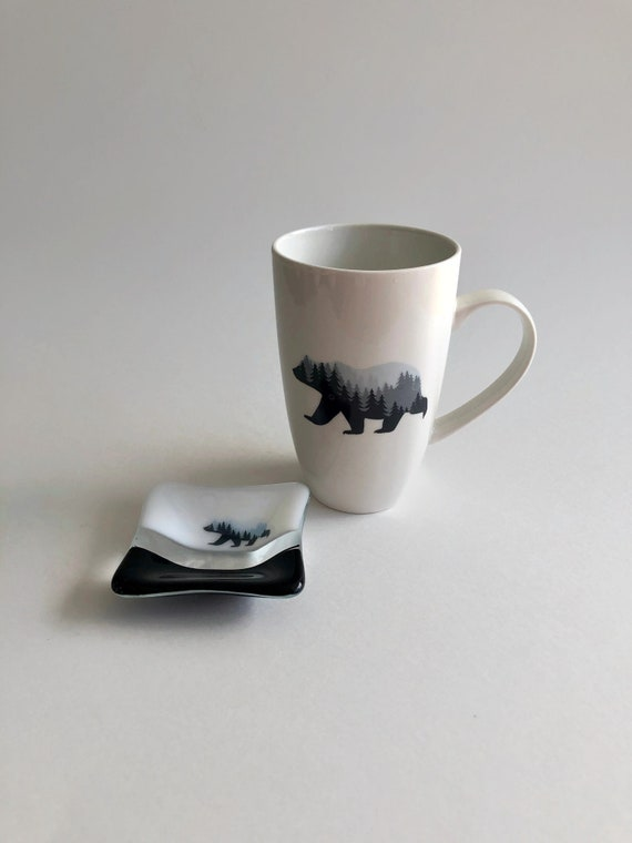 Bear mug, unique gifts, tea bag dish, fused glass art, gifts for her, coffee cup, home decor, mountain decor, bear themed mug, unique art