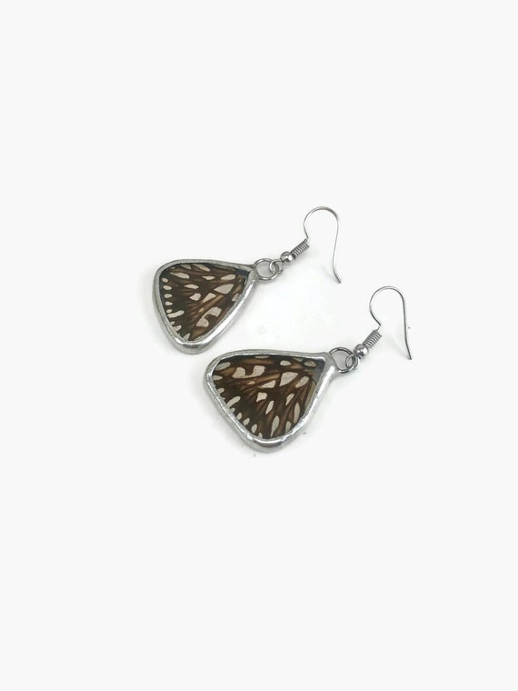 Butterfly wing dangle earring, Unique gifts for her, real butterfly wing, butterfly taxidermy
