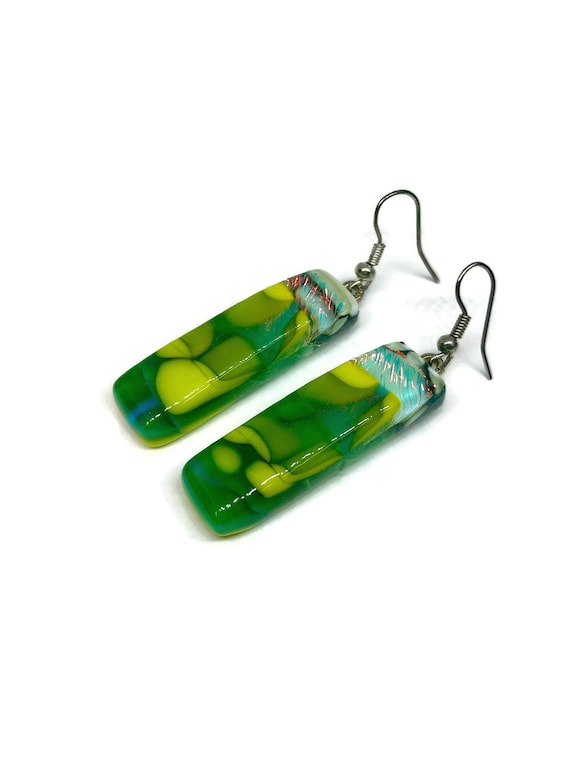 Fused glass statement dangle earrings, Unique jewelry for her, gifts for her, dichroic glass earrings, best friend Gifts