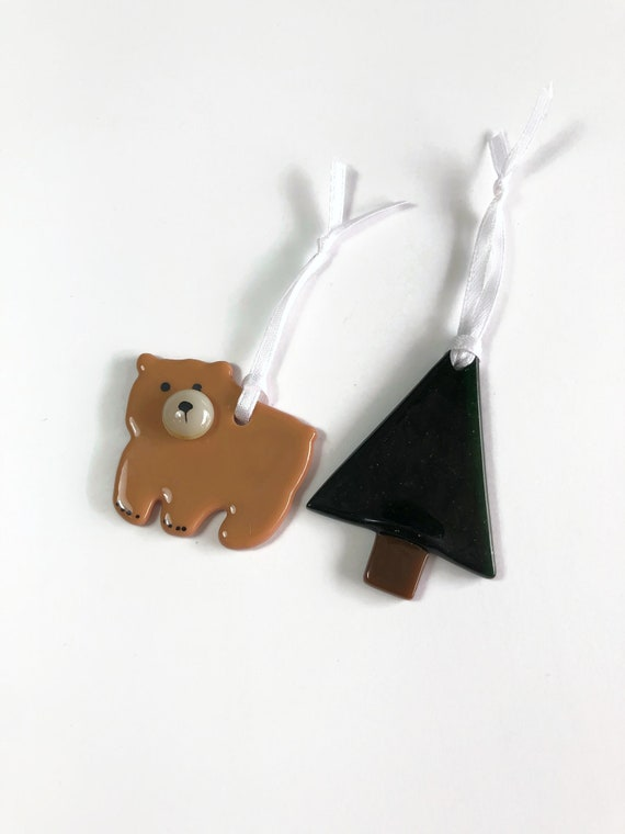 Bear ornament, fused glass ornament, mountain decor, Unique gifts for him, glass ornament, unique art, Christmas decor, tree ornament, gift