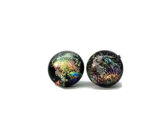 Glass studs, minimalist jewelry, dichroic glass studs, unique gifts for her, Bridal earrings, fused glass earrings, Unique jewelry, gifts