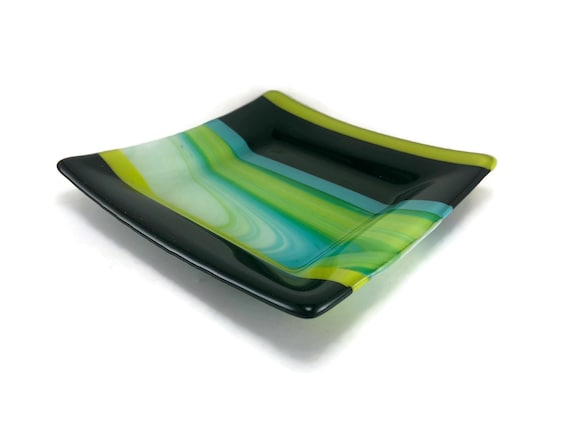 Fused glass plate, unique gifts for her, unique art, glass art, glass dish, glass home decor, jewelry dish, candy dish, gifts for him, gifts