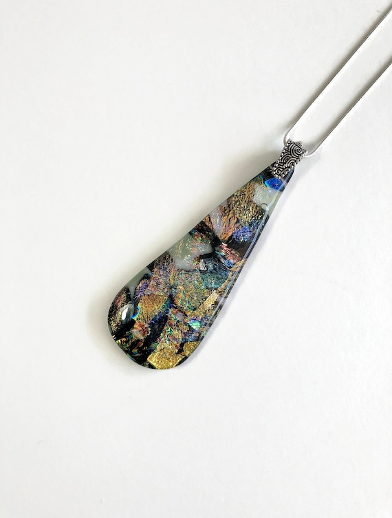 Glass jewelry, statement jewelry, fused glass necklace, unique gifts for her, dichroic glass jewelry, unique jewelry, glass necklace, gifts